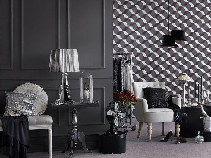 wykorzystanie tapet i farb Tikkurila nowoczesny, elegancki salon