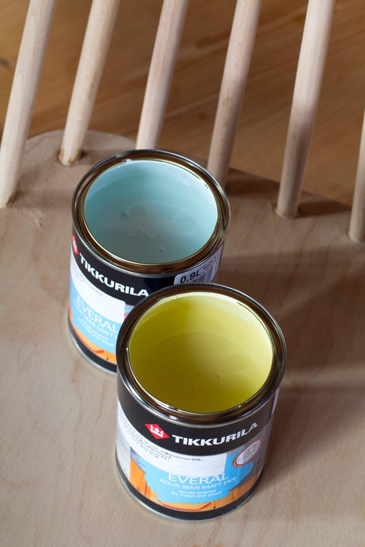 Farby Tikkurila, których użyto do zmiany wystroju jadalni.
