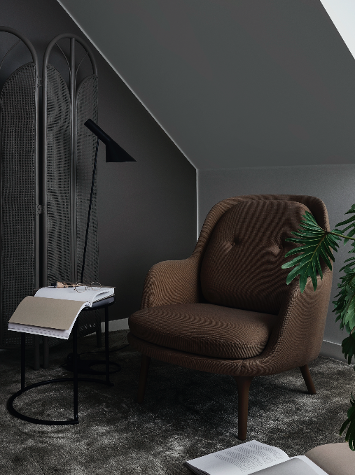 tikkurila paleta clay color now 2017 ciemne ściany brązowy fotel zielona palma książka stylowe wnętrze