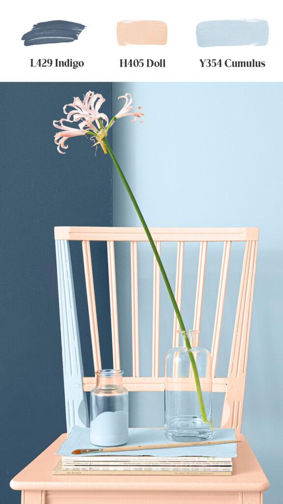 Tikkurila-Color-Now-2021 ściana krzesło kwiat