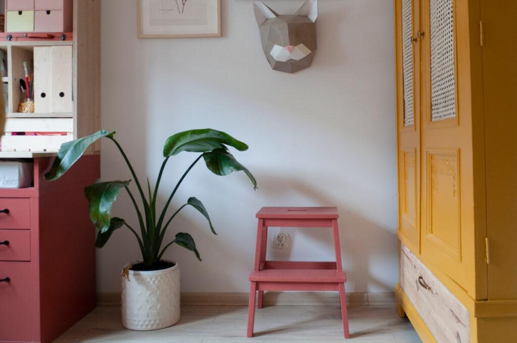 pokój nastolatki szafa schodki roślina fragment biurka